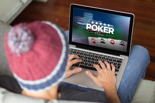 Online Poker on Laptop